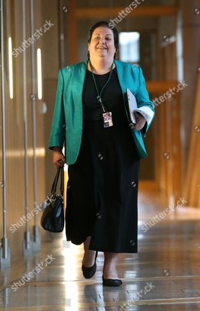Jackie Baillie, makes her way to the Debating Chamber