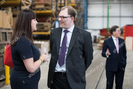 Former NATO Secretary General Lord Robertson of Port Ellen (r) and Ruth Smeeth MP (l) join Gareth Snell (c) on a tour of Goodwin Group plc in the constituency of Stoke-on-Trent Centre