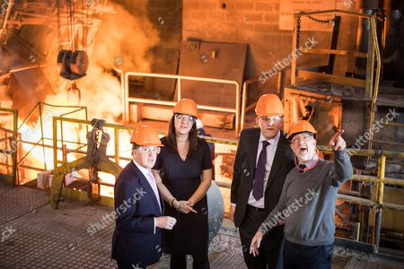 L-R Former NATO Secretary General Lord Robertson of Port Ellen and Ruth Smeeth MP join Gareth Snell on a tour of the foundry, shown by Steve Birks (MD of Goodwins Steel castings), during a tour of Goodwin Group plc in the constituency of Stoke-on-Trent Centre