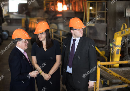Former NATO Secretary General Lord Robertson of Port Ellen and Ruth Smeeth MP join Gareth Snell on a tour of Goodwin Group plc in the constituency of Stoke-on-Trent Centre