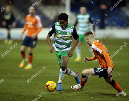 Shayon Harrison of Yeovil Town (Left) after the Checkatrade Trophy Match between Luton Town and Yeovil Town on 7 February at Kenilworth Road, Luton, Bedfordshire.  - PHOTO: Kieran Galvin/PPAUK