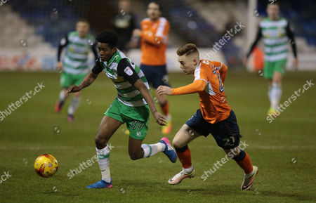 Shayon Harrison of Yeovil Town during the Checkatrade Trophy Match between Luton Town and Yeovil Town on 7 February at Kenilworth Road, Luton, Bedfordshire.  - PHOTO: Kieran Galvin/PPAUK