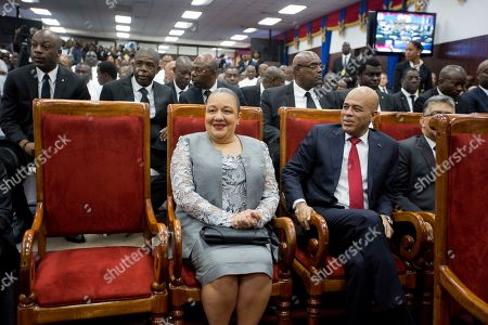 Michel Martelly, Sofia Haiti's former President Michel Martelly sits with his wife Sofia during the inauguration of new President Jovenel Moise at Parliament in Port-au-Prince, Haiti, . Moise was sworn as president for the next five years after a bruising two-year election cycle, inheriting a struggling economy and a deeply divided society