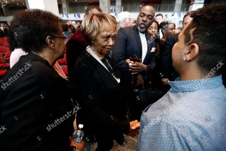 Cissy Houston, center left, mother of late musician Whitney Houston, talks to Gabriel de los Santos, right, a musician with the All Stars Program, during a news conference announcing Prudential Center as host of the Grammy Museum Experience, in Newark, N.J. Officials announced plans for the 8,000-square-foot Grammy Museum Experience at the Prudential Center arena in Newark. The Los Angeles-based museum says it will be the first location on the East Coast