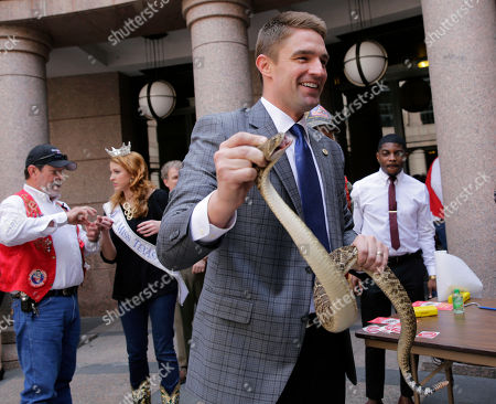 Texas Rep. Jeff Leach, R-Plano, holds a rattle snake in the outdoor rotunda at the Texas Capitol, in Austin, Texas. Members of the Sweetwater Jaycees brought rattlesnakes to the statehouse to promote their annual rattlesnake round-up and help educate visitors