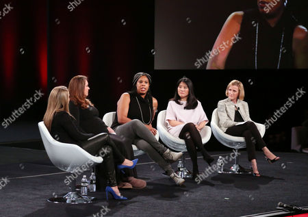 Moderator Shelly Zallis, Anna Patterson, Vice President of Engineering, Artificial Intelligence, Google, Erica Baker, Senior Engineer, Slack Technologies, Angela Sun, Head of Stategy and Corporate Development, Bloomberg, Trish Stroman, Partner and MD The Boston Consulting Group