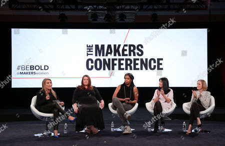 Stock Image of Moderator Shelly Zallis, Anna Patterson, Vice President of Engineering, Artificial Intelligence, Google, Erica Baker, Senior Engineer, Slack Technologies, Angela Sun, Head of Stategy and Corporate Development, Bloomberg, Trish Stroman, Partner and MD The Boston Consulting Group