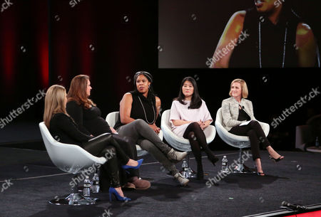 Stock Picture of Moderator Shelly Zallis, Anna Patterson, Vice President of Engineering, Artificial Intelligence, Google, Erica Baker, Senior Engineer, Slack Technologies, Angela Sun, Head of Stategy and Corporate Development, Bloomberg, Trish Stroman, Partner and MD The Boston Consulting Group