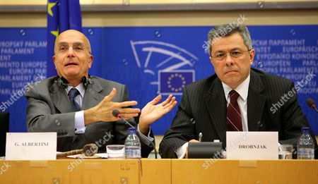 Chair of Foreign Affairs Committee of the European Parliament Italian Gabriele Albertini (l) and Vladimir Drobnjak the Croatian Chief Negotiator For Accession Negotiations with the European Union Attend a Hearing by Committee of the European Parliament in Brussels Belgium 04 November 2009