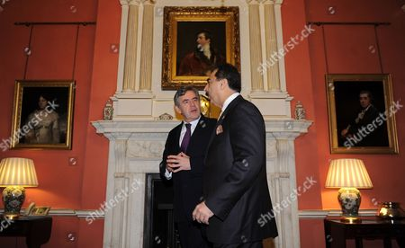 Prime Minister of Pakistan Syed Yousuf Raza Gilani (r) with British Prime Minister Gordon Brown at Downing Street in London Britain 03 December 2009 Gordon Brown Said the British Government Pledged More Support For Pakistan's Counter Terror Efforts After Talks with Prime Minister Yousef Raza Gilani Aid Being Provided by Britain Would Go Into Reconstruction Education and the Relocation of People Displaced by Fighting in Pakistan's Turbulent Border Regions with Afghanistan He Also Pledged 55 Million Euros to Help Pakistan Achieve the 'Long-term Stabilisation' of the Border Region United Kingdom London