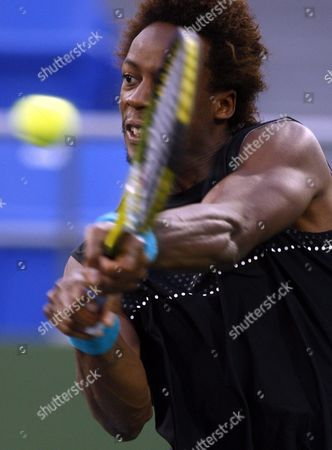 French Gael Montfils Returns a Ball in His Match Against Croation Ivan Ljubicic During the Shanghai Atp Masters 1000 China 15 October 2009 Montfils Retired After the First Set