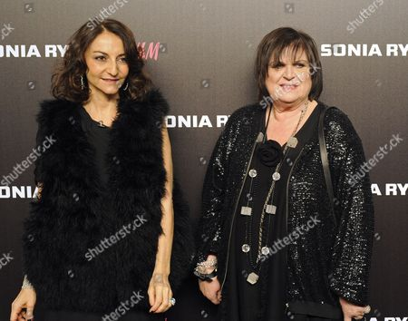 French Fashion Designer Nathalie Rykiel (l) and H&m Creative Advisor Margareta Van Den Bosch (r) Pose For Photographs Upon Their Arrival For the Fashion Show by Designer Sonia Rykiel For H&m 2009-2010 Ready-to-wear Collection at Grand Palais in Paris France 01 December 2009 Germany Paris