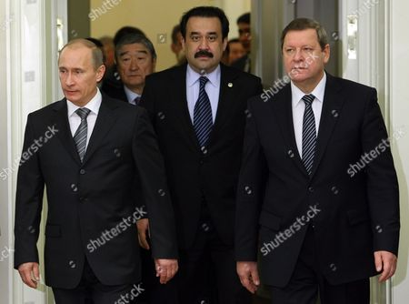 Russian Prime Minister Vladimir Putin (l) Kazakh Prime Minister Karim Masimov (c) Belarusian Prime Minister Sergei Sidorsky (r) Attend the Session of the Supreme Body of the Customs Union of the Russian Federation Belarus and Kazakhstan at Level of Heads of the Governments in St Petersburg Russia 11 December 2009 Russian Federation St.petersburg