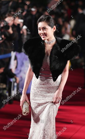 Stock Photo of South Korean Actress Choo Ja-hyun Who Appeared On the Screen 'Miindo' Arrives For the 46th Annual Daejong Film Awards at the Olympic Park in Seoul South Korea 06 November 2009