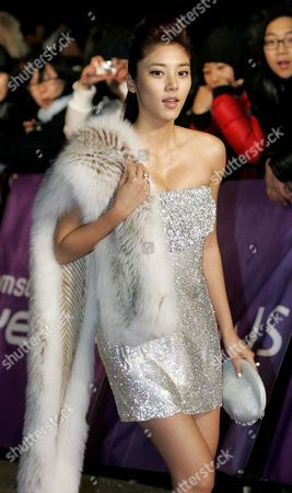 South Korean Singer Model and Actress Son Dam Bi Arrives For the 24th Golden Disk Awards at the Olympic Hall at Seoul's Olympic Park South Korea 10 December 2009