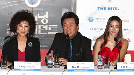 (l-r) South Korean Actress Goh Doo-shim Lim Ha-ryong and Actress Han Chae-young Attaends During a Press Conference of 'Good Morning President' the Opening Film of the 14th Pusan International Film Festival (piff) in Busan South Korea 08 October 2009 the Biggest Film Festival in Asia Showcases 355 Films From 70 Countries From 08-16 October 2009 in Busan