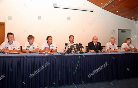 The British Hostages Sam Usher (l) Luke Poter (2-l) Oli Smith (3-l) David Bloomer (2-r) and Oli Young (r) Attend with Their Team Manager Nick Crbtree (4-l) and British Embassy Representative Guy W (3-r) a Press Conference at Mina Seyahi Beach in Dubai United Arab Emirates 02 December 2009 Britain's Foreign Office Confirmed on 02 December That Five British Sailors Detained by Iran After Their Racing Yacht Strayed Into Iranian Waters Last Week Have Been Released and Supposed Heading to Dubai United Arab Emirates Dubai