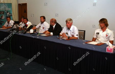 Stock Photo of The British Hostages Sam Usher (l) Luke Poter (2-l) Oli Smith (3-l) David Bloomer (2-r) and Oli Young (r) Attend a Press Conference at Mina Seyahi Beach in Dubai United Arab Emirates 02 December 2009 Britain's Foreign Office Confirmed On 02 December That Five British Sailors Detained by Iran After Their Racing Yacht Strayed Into Iranian Waters Last Week Have Been Released and Supposed Heading to Dubai