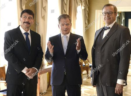 (l-r) Hungary's President Janos Ader President of Estonia Toomas Hendrik Ilves (r) and Finnish President Sauli Niinisto (c) Prepare For a News Conference in the Finnish President's Palace in Helsinki Finland 15 June 2016 the Presidents Will Participate in the World Congress of the Finno-ugric Peoples in Lahti Finland Later on Wednesday 15 June 2016 Finland Helsinki