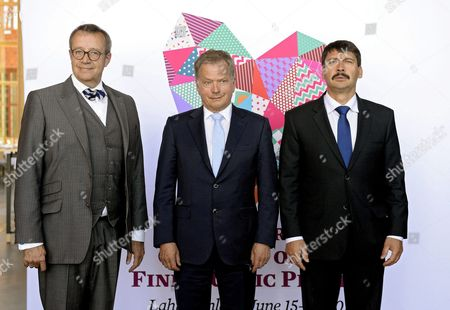 Estonian President Toomas Hendrik Ilves Finnish President Sauli Niinisto and Hungarian President Janos Ader (l-r) Pose For Photographs During the 7th World Congress of Finno-ugric Peoples in Lahti Finland 15 June 2016 Finland Lahti