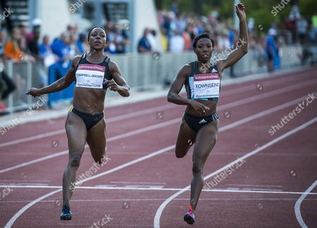 Veronica Campbell-brown (l) of Jamaica and Tiffany Townsend of Us in Action During the Women's 200 Meters Sprint Final at the Gyulai Istvan Memorial Track and Field Grand Prix in Szekesfehervar Hungary 18 July 2016 Hungary Szekesfehervar