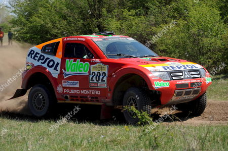 Luc Alphand of France Drives His Mithubishi Pajero with Co-driver Gilles Picard of France During the First Special Stage of the Central Europe Rally the First Ever Race of the Dakar Series at Taborfalva Some 60 Km South of Budapest Hungary 20 April 2008 the Race Considered As a Substitute For This Year's Cancelled Dakar Rally is Held in Hungary and Romania Between Through 26 April Racers From 41 Countries of the World Will Ride 97 Cars 132 Motorbykes and Quads As Well As 39 Trucks on a 2 671-km Long Route Starting From Budapest Hungary Budapest