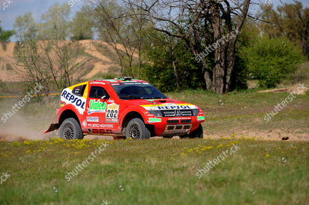 Luc Alphand of France Drives His Mithubishi Pajero with Co-driver Gilles Picard of France During the First Special Stage of the Central Europe Rally the First Ever Race of the Dakar Series at Taborfalva Some 60 Kms South of Budapest Hungary 20 April 2008 the Race Considered As a Substitute For This Year's Cancelled Dakar Rally is Held in Hungary and Romania Through 26 April Racers From 41 Countries Will Ride 97 Cars 132 Motorbykes and Quads As Well As 39 Trucks on a 2 671-km Long Route Starting From Budapest Hungary Budapest