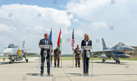 Hungarian Minister of Defence Istvan Simicsko (l) and American Ambassador to Hungary Colleen Bell Hold a Joint Press Conference During the Press Day of the Panther Strike 2016 International Military Training at Papa Air Base Near Papa 165 Kms West of Budapest Hungary 27 July 2016 Hungary Papa