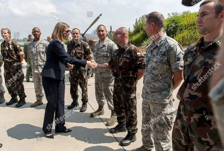 American Ambassador to Hungary Colleen Bell (c) Shake Hands with an American Soldier During the Press Day of the Panther Strike 2016 International Military Training at Papa Air Base Near Papa 165 Kms West of Budapest Hungary 27 July 2016 Hungary Papa
