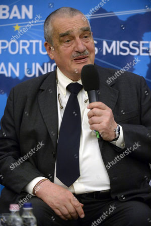 Stock Picture of Former Czech Foreign Minister Karel Schwarzenberg Looks on During an International Conference Under the Title 'Opportunities Seized Opportunities Missed Ten Years in the European Union' Held to Mark the Tenth Anniversary of Hungary's Accession to the Eu in Budapest Hungary 28 April 2014 the Accession Treaty of Hungary Joining the Eu was Signed on 16 April 2003 Hungary Budapest