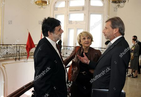 Austrian Member of the European Commission in Charge of Regional Policy Johannes Hahn (r) Chairperson of the Regional Development Committee of the European Parliament Danuta Hubner of Poland (c) and Hungarian Minister of National Development Tamas Fellegi During a Conference on the Future of Cohesion Policy of the European Union in Stefania Palace in Budapest Hungary 31 March 2011 Hungary Hosts the Conference As Holder of the Rotating Presidency of the European Union As of 01 January 2011 Hungary Budapest