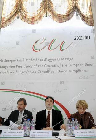 Austrian Member of the European Commission in Charge of Regional Policy Johannes Hahn (l) Chairperson of the Regional Development Committee of the European Parliament Danuta Hubner of Poland (r) and Hungarian Minister of National Development Tamas Fellegi Attend a Conference on the Future of Cohesion Policy of the European Union in Stefania Palace in Budapest Hungary 31 March 2011 Hungary Hosts the Conference As Holder of the Rotating Presidency of the European Union As of 01 January 2011 Hungary Budapest