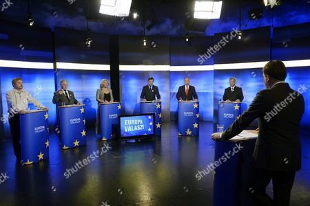 Stock Picture of (l-r) Top Candidates For the European Elections of Their Respective Parties Arpad Kasler of 'Homeland is not For Sale' Tamas Toth of 'Allies of Seres Maria' Krisztina Morvai of 'Jobbik' Gordon Bajnai of 'Together-pm' Tibor Szanyi of 'Hungarian Socialist Party' and Tamas Meszerics of 'Politics Can Be Different' Participate in a Televised Debate in a Studio of Atv Television Channel in Budapest Hungary 23 May 2014 Hungarians Will Go to the Polls to Elect Members of the New European Parliament on 25 May Hungary Budapest
