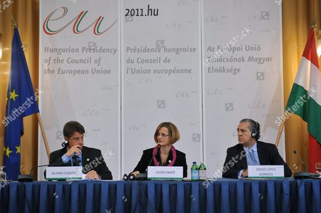 State Secretaries in Charge of Eu Affairs (l-r) Olivier Chastel of Belgium Enikoe Gyoeri of Hungary and Diego Lopez Garido of Spain Attend a Press Conference in the Foreign Ministry in Budapest Hungary 13 January 2011 Spain and Belgium Were the Two Previous Presidents of the Council of the European Union Before Hungary Took Office on 01 January 2011 Hungary out Hungary Budapest