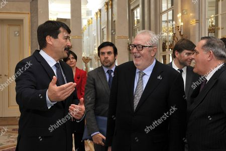 Visiting President of the Parliamentary Assembly of the Council of Europe Pedro Agramunt (2-r) is Received by Hungarian President Janos Ader (l) in the Alexander Palace in Budapest Hungary 04 April 2016 Hungary Budapest