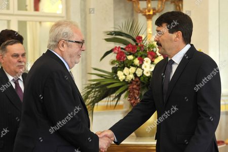 Visiting President of the Parliamentary Assembly of the Council of Europe Pedro Agramunt (2-l) is Received by Hungarian President Janos Ader in the Mirror Hall of Alexander Palace in Budapest Hungary 04 April 2016 Hungary Budapest