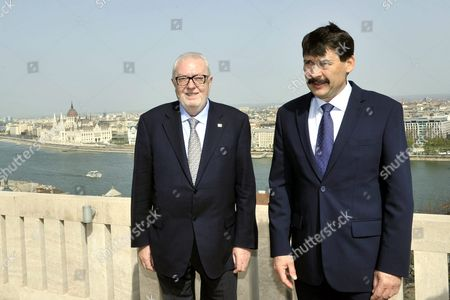 Visiting President of the Parliamentary Assembly of the Council of Europe Pedro Agramunt (l) Poses For a Photograph with Hungarian President Janos Ader on the Terrace of the Alexander Palace in Budapest Hungary 04 April 2016 Hungary Budapest