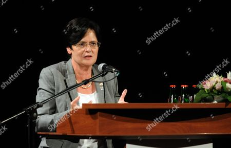 German Thuringia State's Prime Minister Christine Lieberknecht Delivers a Speech During a Ceremony Organized by the German Konrad Adenauer Foundation Marking the 25th Anniversary of the Beginning of the Dismantling of the Iron Curtain Between Hungary and Austria in Sopron 208 Kilometers West of Budapest Hungary 19 August 2014 on 19 August 1989 Hungarian Border Forces and Their Austrian Counterparts Allowed Nearly 700 East Germans to Flee Across the Frontier Between Their Two Countries It was an Incident That Further Weakened the So-called 'Iron Curtain' Then Dividing Europe and Helped to Lead to the Eventual Fall of the Berlin Wall in November of That Year Epa/peter Nyikos Hungary out Hungary Sopron
