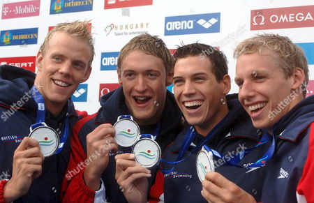 (l-r) Silver Medallists David Carry Andrew Hunter Simon Burnett and Ross Davenport of Great Britain Display Their Medals During the Awards Ceremony For the Men's 4 X 200 Meter Freestyle Final Race at the European Swimming Championships in Budapest Saturday 05 August 2006 Hungary Budapest