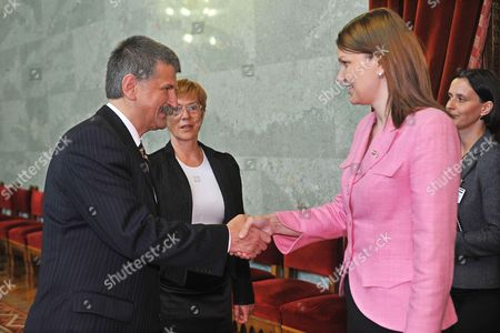 Staying on a One-day Working Visit in Hungary Finnish Prime Minister Mari Johanna Kiviniemi (r) Shakes Hands with Speaker of the Hungarian Parliament Laszlo Koever (l) During Their Meeting in the Parliament Building in Budapest Hungary 13 September 2010 Hungary Budapest