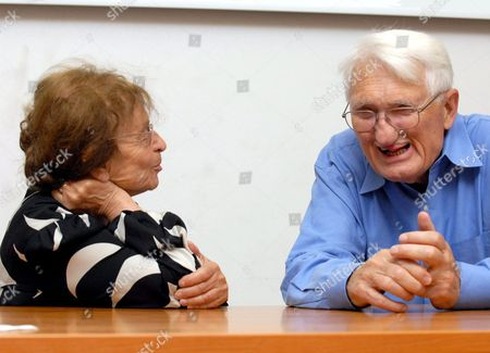 Hungarian Philosopher Agnes Heller (l) Listening to German Sociologist and Philosopher Juergen Habermas During an International Conference Under the Title 'Philosophy of Habermas' at the University of Pecs in Pecs 197 Kms South of Budapest Hungary 18 May 2009 Hungary Pecs