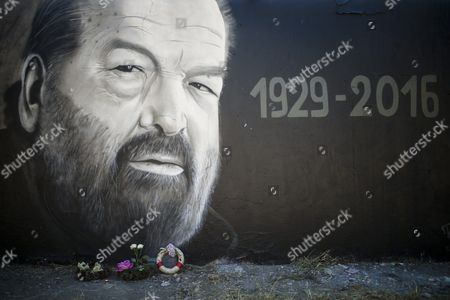 A Graffiti Depicting a Portrait of Late Italian Actor Carlo Pedersoli Better Known by His Screen Name Bud Spencer in a Street in Budapest Hungary 29 June 2016 Bud Spencer Died in Rome on 27 June at the Age of 86 Hungary Budapest