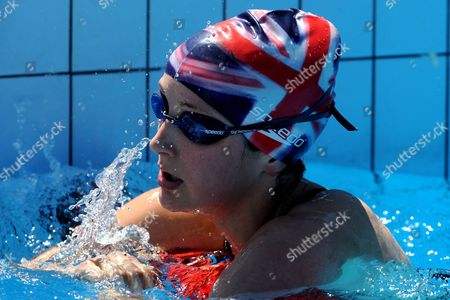 Freyja Prentice of Britain Rests After Competing in the Women's Individual Swimming of Trigranit Pentathlon World Cup in Szazhalombatta 29 Kms South of Budapest Hungary 07 May 2011 Hungary Szazhalombatta