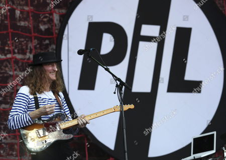 Stock Image of Guitarist of British Band Public Image Ltd (pil) Lu Edmonds Performs During a Concert at the Sziget (island) Festival on the Shipyard Island Northern Budapest Hungary 12 August 2010 the Festival Runs Until 16 August 2010 Hungary Budapest