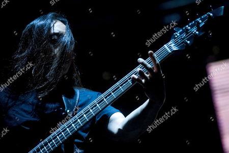 Bassist John Myung of Us Band Dream Theater Performs at the Fezen Festival in Szekesfehervar Hungary 04 August 2011 Hungary Szekesfehervar