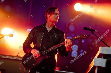 Guitarist Dean Fertita of Us Rock Band Queens of the Stone Age Performs During a Concert at the 22nd Sziget (island) Festival on the Shipyard Island in Northern Budapest Hungary 12 August 2014 the Festival One of the Biggest Cultural Events of Europe Offering Art Exhibitions Theatrical and Circus Performances and Above All Music Concerts During a Week Runs Until 18 August Hungary Budapest