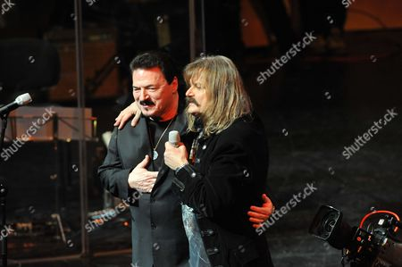 Hungarian-born Musician and Producer Leslie Mandoki Living in Germany (r) and Us Singer of Rock Band Toto Bobby Kimball Perform at the Palace of Arts in Budapest Hungary 16 February 2013 Mandoki Celebrates His 60th Birthday with Some of the Best-known International Rock and Jazz Stars of the Seventies and Eighties During the Man Doki Soulmates Rock Gala Hungary Budapest
