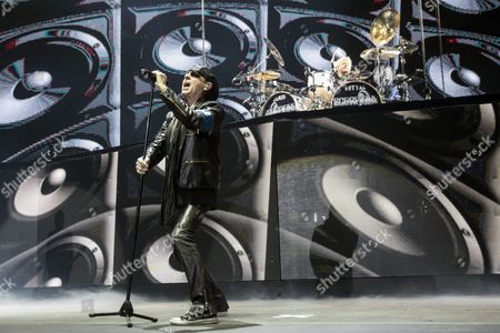 Lead Singer Klaus Meine and Drummer James Kottak of the German Rock Band Scorpions Perform on Stage During Their Concert in Papp Laszlo Arena in Budapest Hungary 29 February 2016 Hungary Budapest