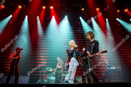 Marie Fredriksson (2-r) and Per Gessle (r) Members of the Swedish Pop-rock Band Roxette Perform on Stage in Papp Laszlo Budapest Sports Arena in Budapest Hungary 19 May 2015 Hungary Budapest