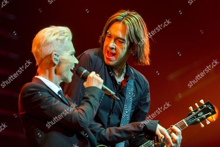 Marie Fredriksson (l) and Per Gessle Members of the Swedish Pop-rock Band Roxette Perform on Stage in Papp Laszlo Budapest Sports Arena in Budapest Hungary 19 May 2015 Hungary Budapest